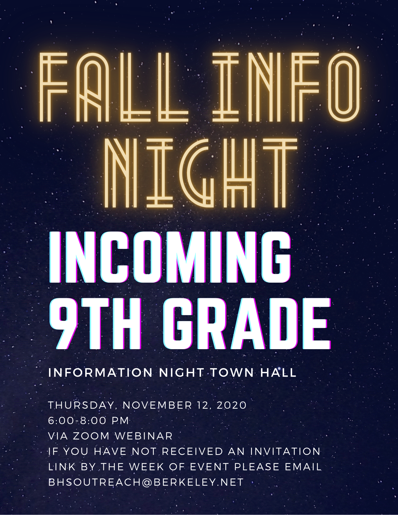 Fall Information Night 11/12 - Click for Details